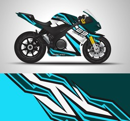 Racing motorcycle wrap decal and vinyl sticker design. Concept graphic abstract background for wrapping vehicles, motorsports, Sportbikes, motocross, supermoto and livery. Vector illustration.