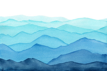abstract indigo light blue watercolor waves mountains on white background