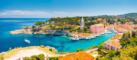 Scenic view of the blue lagoon village Veli Losinj on sunny day. Location place Kvarner Gulf, island Losinj, Croatia, Europe.
