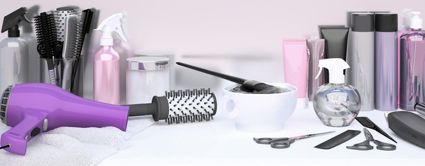 Set of professional hairdressing tools for hair coloring. Table in hair salon. Working tool of barber master.