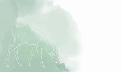 鹿のリアルな線画と水彩風背景