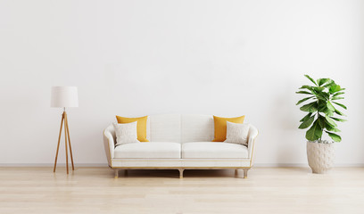 Bright modern living room with white sofa, floor lamp and green plant on wooden laminate. Scandinavian style, cozy interior background. Bright stylish room mockup. 3d render