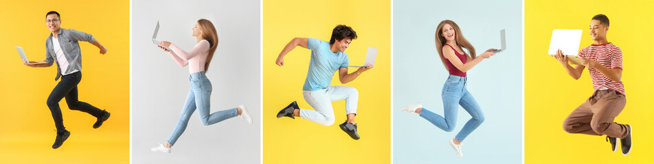 Collage with different jumping people holding their laptops