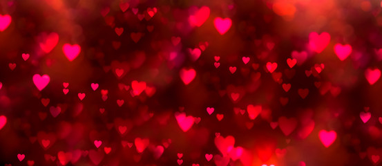 Valentines day background banner - abstract panorama background with red and pink hearts - concept love