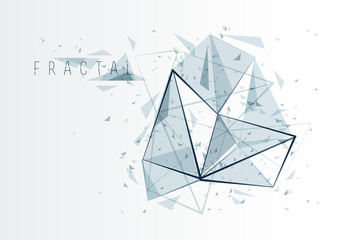 Low poly particles abstract vector background, polygonal fractal design, 3D dimensional element with connected lines, mesh object technology and science theme.