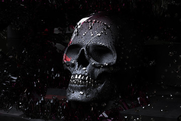 3D render Black Skull with diamonds over a dark background with red geodes