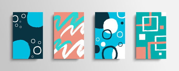 Collection of covers with color brush strokes. Set of artistic creative cards with hand drawn shapes. Vector illustration.