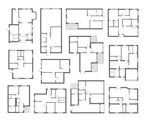 Apartment architectural plans flat vector illustrations set