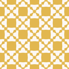 Vector abstract geometric texture. Yellow and beige color. Vintage seamless pattern with flower shapes, crosses, grid, net, repeat tiles. Elegant ornamental background. Design for decor, print, fabric