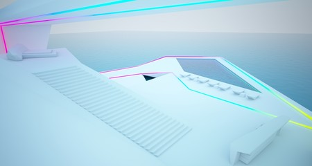 Abstract architectural white interior of a modern villa on the sea with colored neon lighting. 3D illustration and rendering.