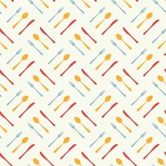 Cutlery icon seamless pattern. Fork, knife, spoon silhouettes and contours. texture for menu. Vector illustration in flat style.