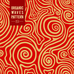 Abstract hand drawn line. Plexus of rounded bands. Seamless vector background. Design beige on a red background. Modern pattern, wallpaper, tile, ornament for the fabric. Gift paper.