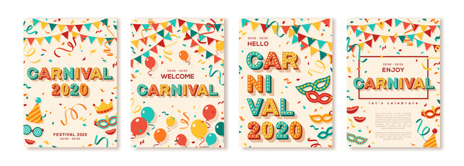 Set of 2020 Carnival cards or banners with typography design. Vector illustration with retro light bulbs font, streamers, confetti and hanging flag garlands. Place for text