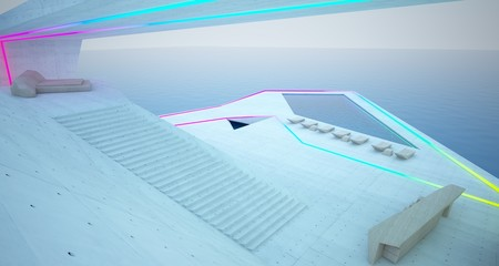 Abstract architectural concrete, wood and glass interior of a modern villa  with colored neon lighting. 3D illustration and rendering.