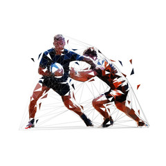 Rugby players, low poly vector illustration. Isolated geometric drawing