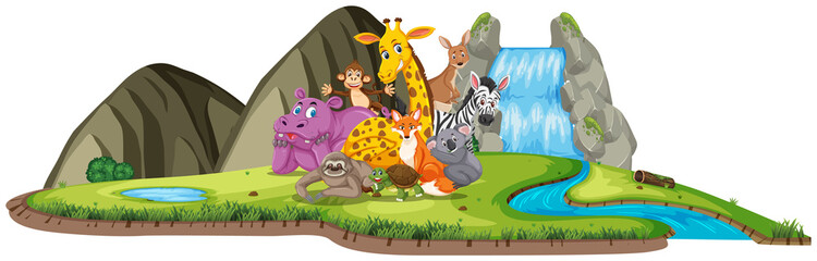 Scene with many animals by the waterfall at day time