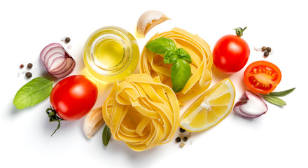 Italian cuisine concept - raw pasta and ingredients. Healthy vegetarian diet, isolated on white