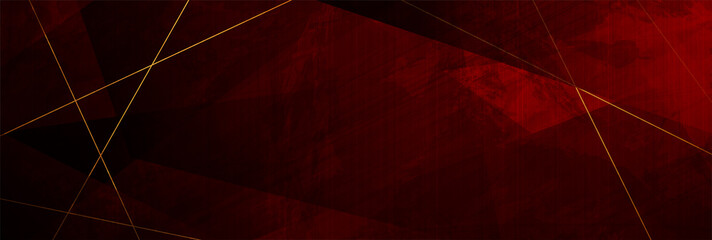 Red grunge corporate abstract background with golden lines. Vector design