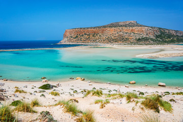 Balos beach and Gramvousa island near Kissamos in Crete, Greece
