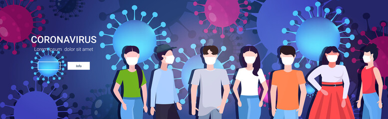 people group in protective masks epidemic MERS-CoV coronavirus flu spreading floating influenza wuhan 2019-nCoV pandemic medical health risk cells background portrait horizontal copy space vector