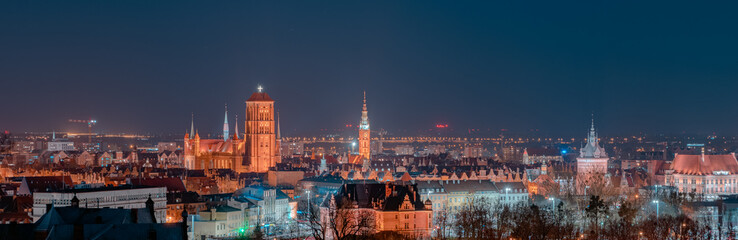 Night panorama of the city of Gdańsk