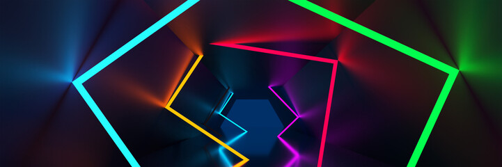 3d rendering background, glowing lines, neon lights, abstract psychedelic background, ultraviolet, vibrant colors