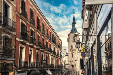 Blue sky over a picturesque street in Madrid