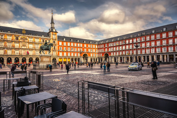 Clouds over Plaza mayor in Madrid