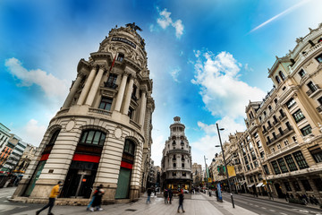 Historic buildings in Gran Via boulevard in downtown Madrid