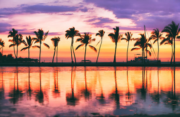 Hawaii beach sunset scenic panoramic banner background for summer vacation, romantic honeymoon travel destinations.