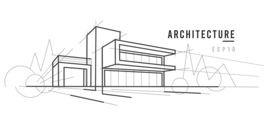 Modern architecture sketch. Line drawing.  Vector, text outlined.