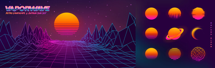 Futuristic neon retrowave background. Retro low poly grid landscape mountain terrain with set of glowing outrun sun vector illustration template