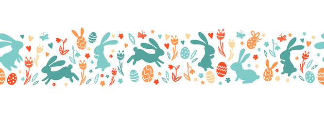Cute hand drawn easter bunnies horizontal seamless pattern, easter doodle background, great for textiles, banners, wallpapers, wrapping - vector design