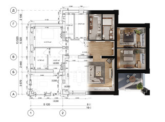 3d rendering of a modern private house located on the architectural technical drawing