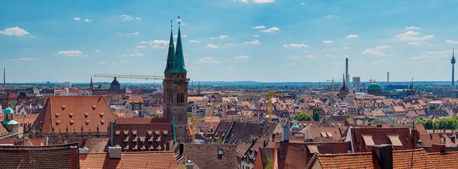 Panorama of old city Nuremberg, Middle Franconia, Bavaria, Germany, Europe