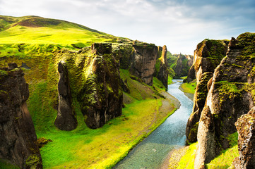 Fjadrargljufur canyon in southern Iceland. Beautiful summer landscape. Famous travel destination