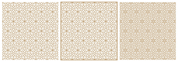 Seamless arabic geometric ornament in three versions.Brown color lines on white background.