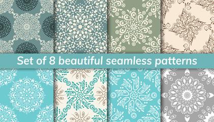 Pattern set arabic, indian, japanese, islamic motifs. Collection of 8 patterns. Mandala seamless pattern.
