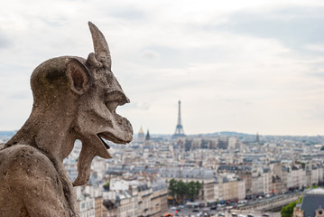 Detail of a gargoyle on the Notre Dame cathedral in Paris, France.