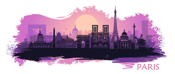 Stylized landscape of Paris with Eiffel tower, arc de Triomphe and Notre Dame Cathedral with spots and splashes of paint