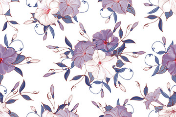 Seamless pattern with petunia and leaves.White, violet flowers and blue leaves on white background. Hand drawn. For floral design, textile, print, wallpapers, wrapping paper.Vector stock illustration.