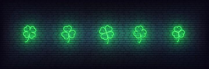 Clover neon icons for Saint Patricks Day. Set of green Irish shamrock icons for Saint Patrick's Day