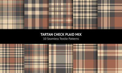Plaid pattern set. Seamless tartan check plaid backgrounds in brown and beige for scarf, blanket, throw, duvet cover, or other modern autumn and winter fashion textile print.