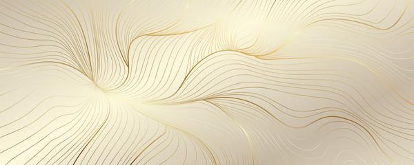 Luxury golden wallpaper. Art Deco Pattern, Vip invitation background texture for print, fabric, packaging design, invite.  Vintage vector illustration