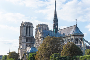 Paris, France - 08/22/2018: Beautiful view of Notre Dame de Paris cathedral on sunny day