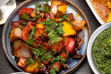 Indian food with herbs and spices