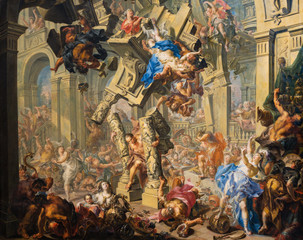 Vienna, Austria. 2019/11/7. Samson's Revenge. c. 1730/1740. Oil on copper. By Johann Georg Platzer (1704–1761). Belvedere Museum, Vienna, Austria.