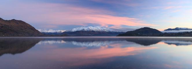 Mountain reflection in Lake Wanaka New Zealand.