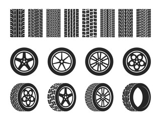 Wheel tires. Car trace imprints, vehicle track or auto race tire, motorcycle racing wheels patterns graphic elements vector set