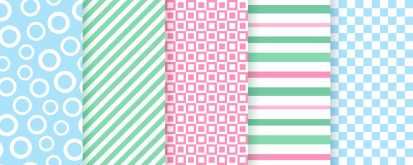 Scrapbook background. Vector. Seamless pattern. Cute textures for scrap design. Chic paper with circles, stripes, squares, chess. Trendy modern print. Color illustration. Abstract geometric backdrop.